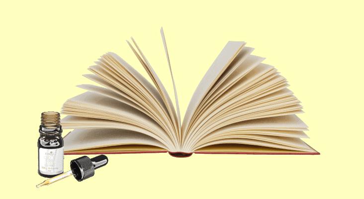 livre ouvert flacon